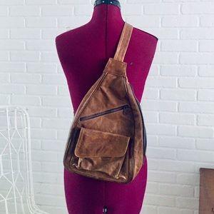 90s Leather Backpack Shoulder Bag Book Bag